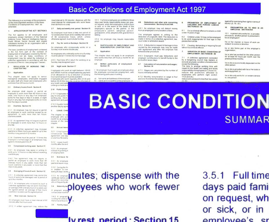 Basic Conditions of Employment Act Summary 2016